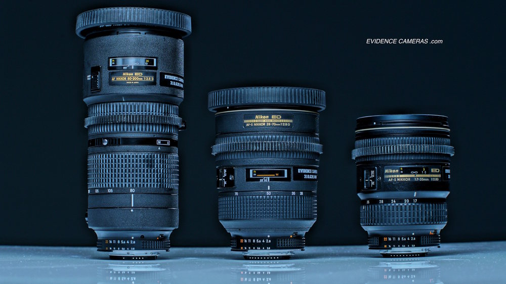NIKON 80-200mm F2.8 ZOOM NIKON 28-70mm F2.8 ZOOM NIKON 17-35mm F2.8 ZOOM    (with EF to Nikon adapter ring)