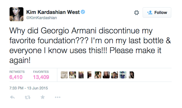 Screenshot of the Georgio Armani Tweet | Twitter @KimKardashian