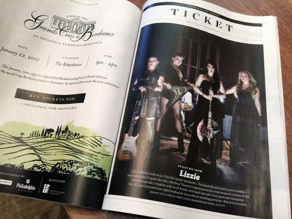 Lizzie appeared as the feature Arts & Culture event in the January 2017 issue of Philadelphia Magazine.