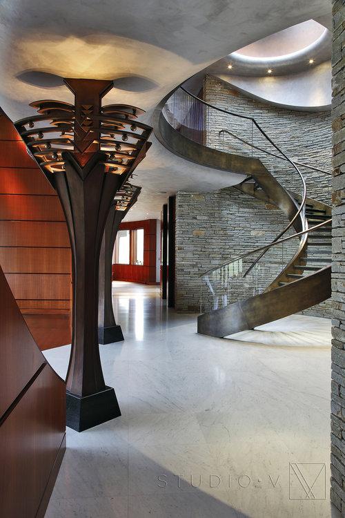 02 Foyer Spiral Staircase Studio V Interiors Scottsdale AZ Greenwich CT