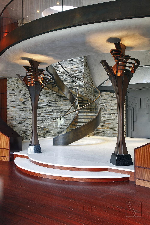 03_Foyer Custom Front Door Spiral Staircase Studio V Interiors Scottsdale AZ Greenwich CT.jpg