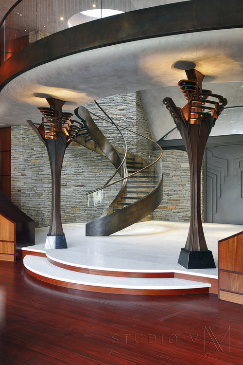 03 Foyer Custom Front Door Spiral Staircase Studio V Interiors Scottsdale AZ Greenwich CT