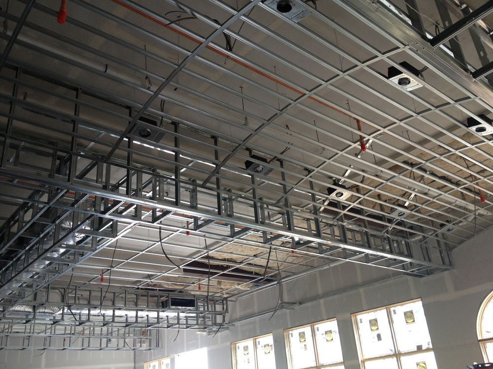steel stud framing insulation grid ceilings decorative soffits