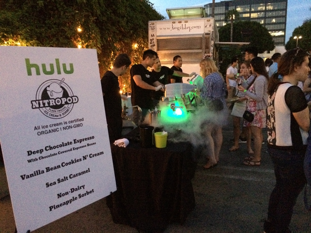 Guests see their ice cream and sorbet born in a cloud of cold steam illuminated by color changing LED's