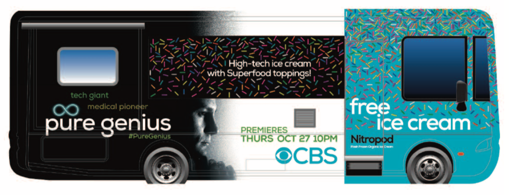 We worked with CBS and A2G to create a total takeover experience to promote the launch of Pure Genius. This included a full vinyl wrap, custom printed cups and laser engraved color changing spoons. We drove the truck to various locations around Los Angeles and distributed over 2000 scoops for free.