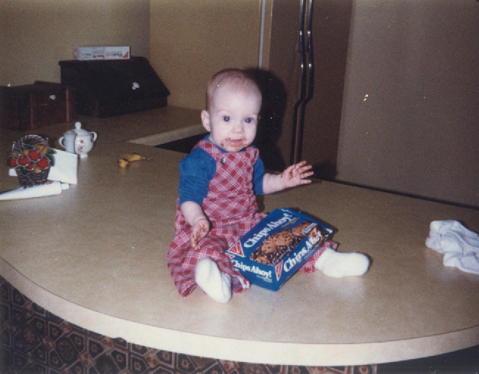 Yes, that's me. Yes, my love of chocolate chip cookies started early.