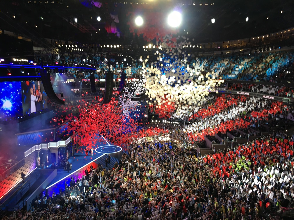 The balloon drop at the DNC