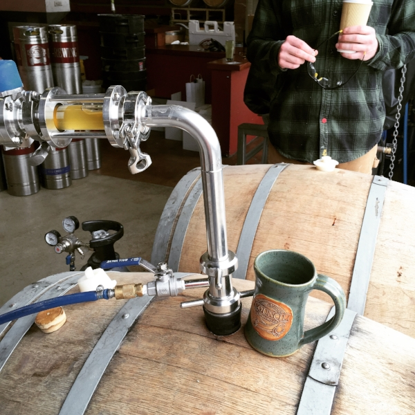 Transferring Biere de Miel into white wine barrels on April 2015 brew day.