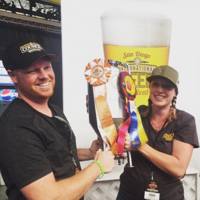 Curtis & Liz Chism accepting the 2017 BEST OF SHOW award at the San Diego International Beer Competition.