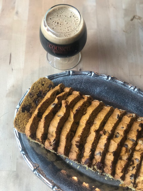 Homemade Pumpkin Bread paired with Council's Robust Porter