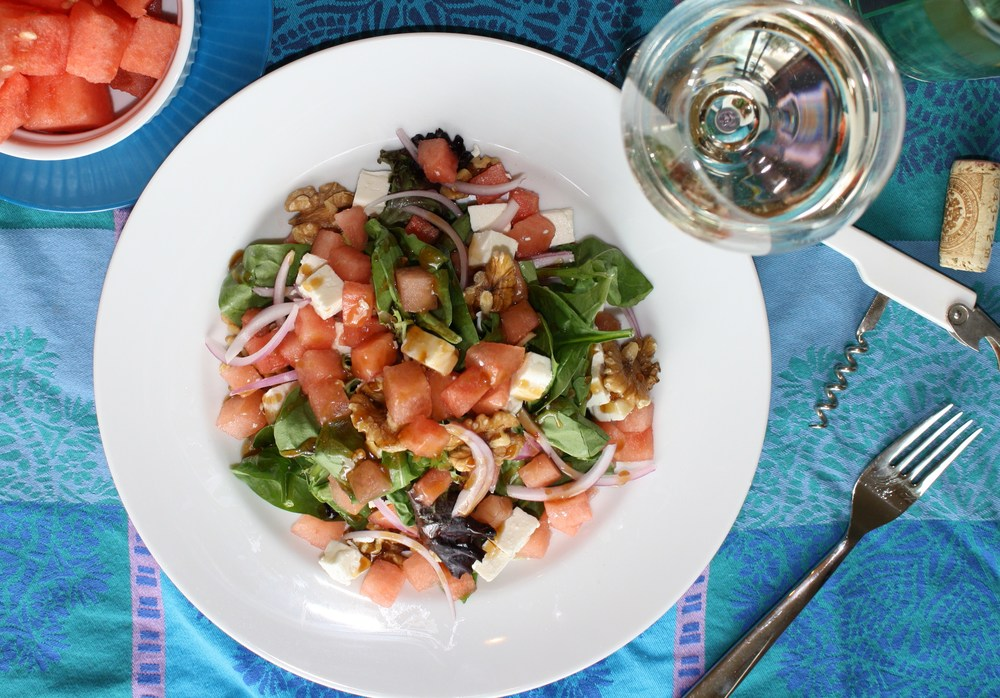 watermelon feta salad with wine