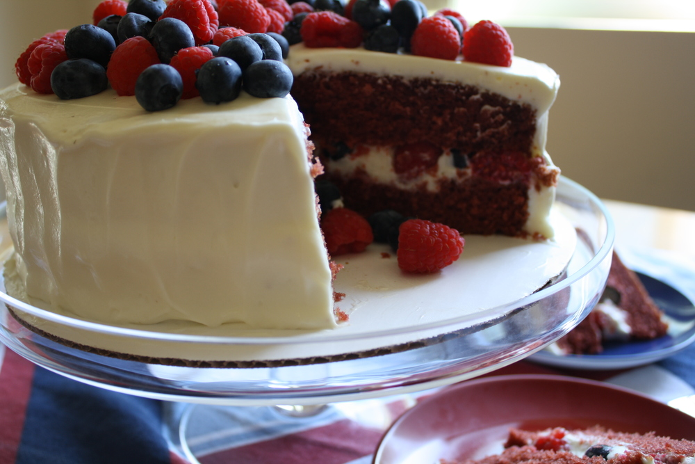 Red Velvet Cake with Mascarpone Frosting and Fresh Berries  The