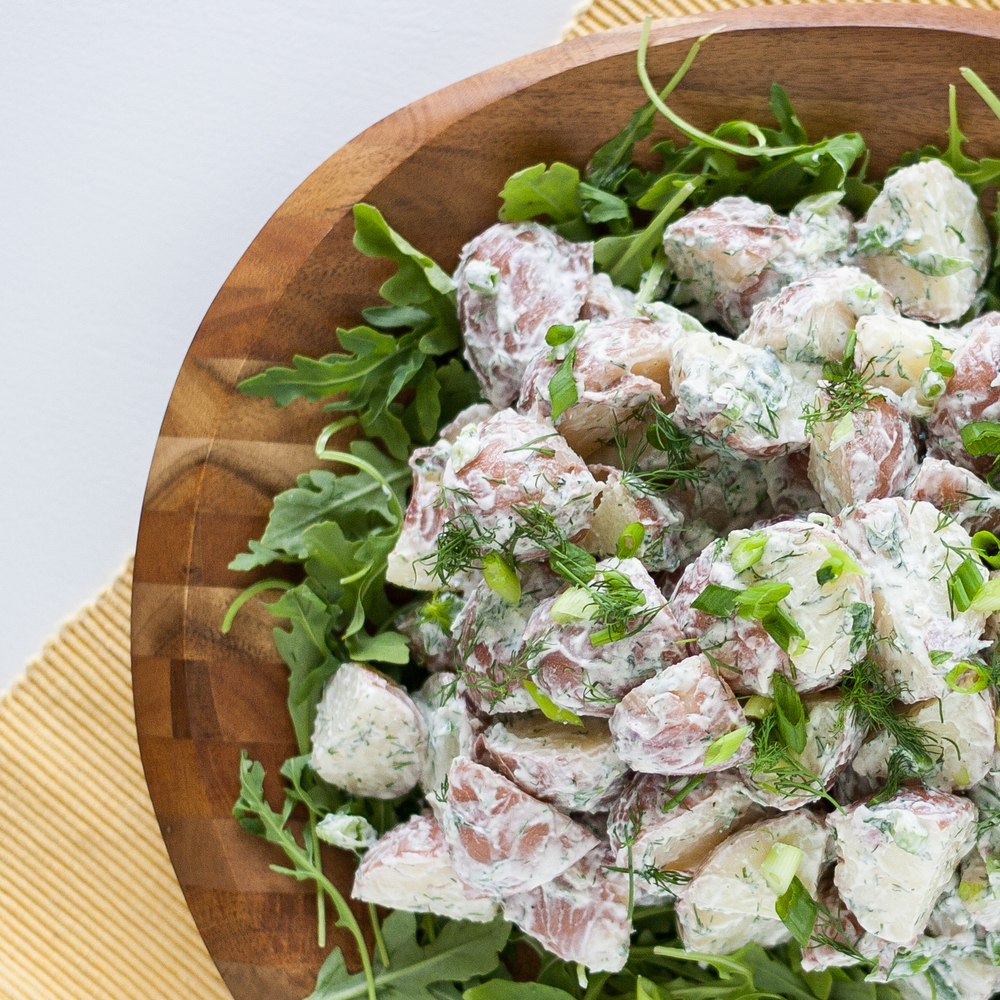 red potato salad with dill and horseradish