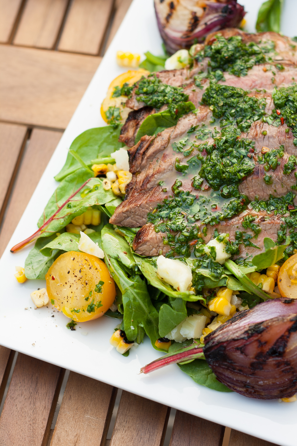 flank steak salad chimichurri