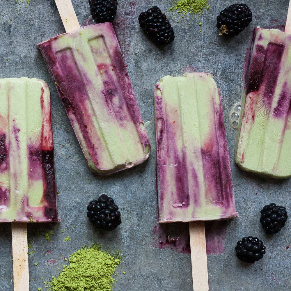 matcha blackberry pops