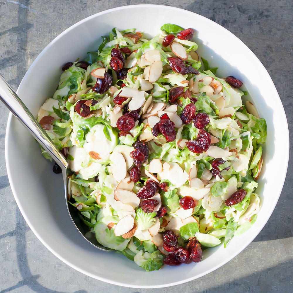 shaved brussels sprout & cranberry salad