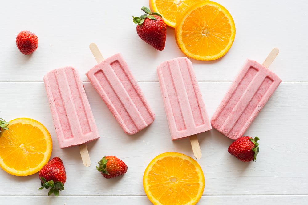 strawberry orange mascarpone popsicles