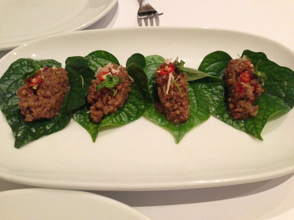 "Fresh betel leaves with sticky caramelised pork and incendiary components.                                  Normal     0                     false     false     false         EN-AU     JA     X-NONE                                                                                                                                                                                                                                                                                                                                                                                                                                                                                                                                                                                                                                                                                                                    /* Style Definitions */ table.MsoNormalTable 	{mso-style-name:""Table Normal""; 	mso-tstyle-rowband-size:0; 	mso-tstyle-colband-size:0; 	mso-style-noshow:yes; 	mso-style-priority:99; 	mso-style-parent:""""; 	mso-padding-alt:0cm 5.4pt 0cm 5.4pt; 	mso-para-margin:0cm; 	mso-para-margin-bottom:.0001pt; 	mso-pagination:widow-orphan; 	font-size:10.0pt; 	font-family:Cambria;}"