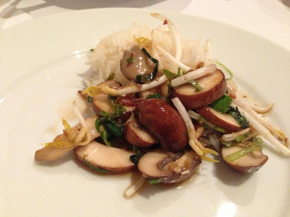Warm mixed mushroom salad with galangal dressing