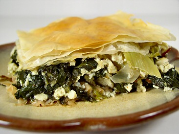 Perfect winter food - spinach and artichoke pie.