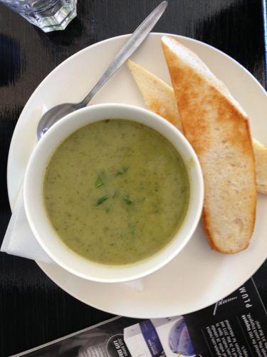 Broccoli and zucchini soup.
