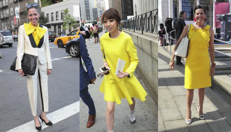 "Bill Cunningham of the NY Times says ""joyous sunflower colours were a favourite of many women during Fashion Week, on shoes and print dresses"""