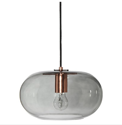 Frandsen Kobe Smoke Glass and Copper Pendant Lamp