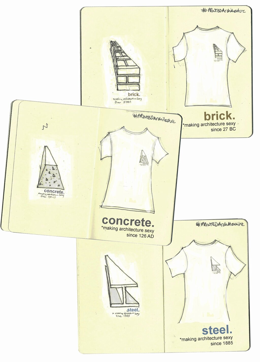 brick.concrete.steel… making architecture sexy since.. [design for an 'architecture inspired' tshirt for the #PRINTEDArchitecture competition run by the RIBA for London Fashion week]