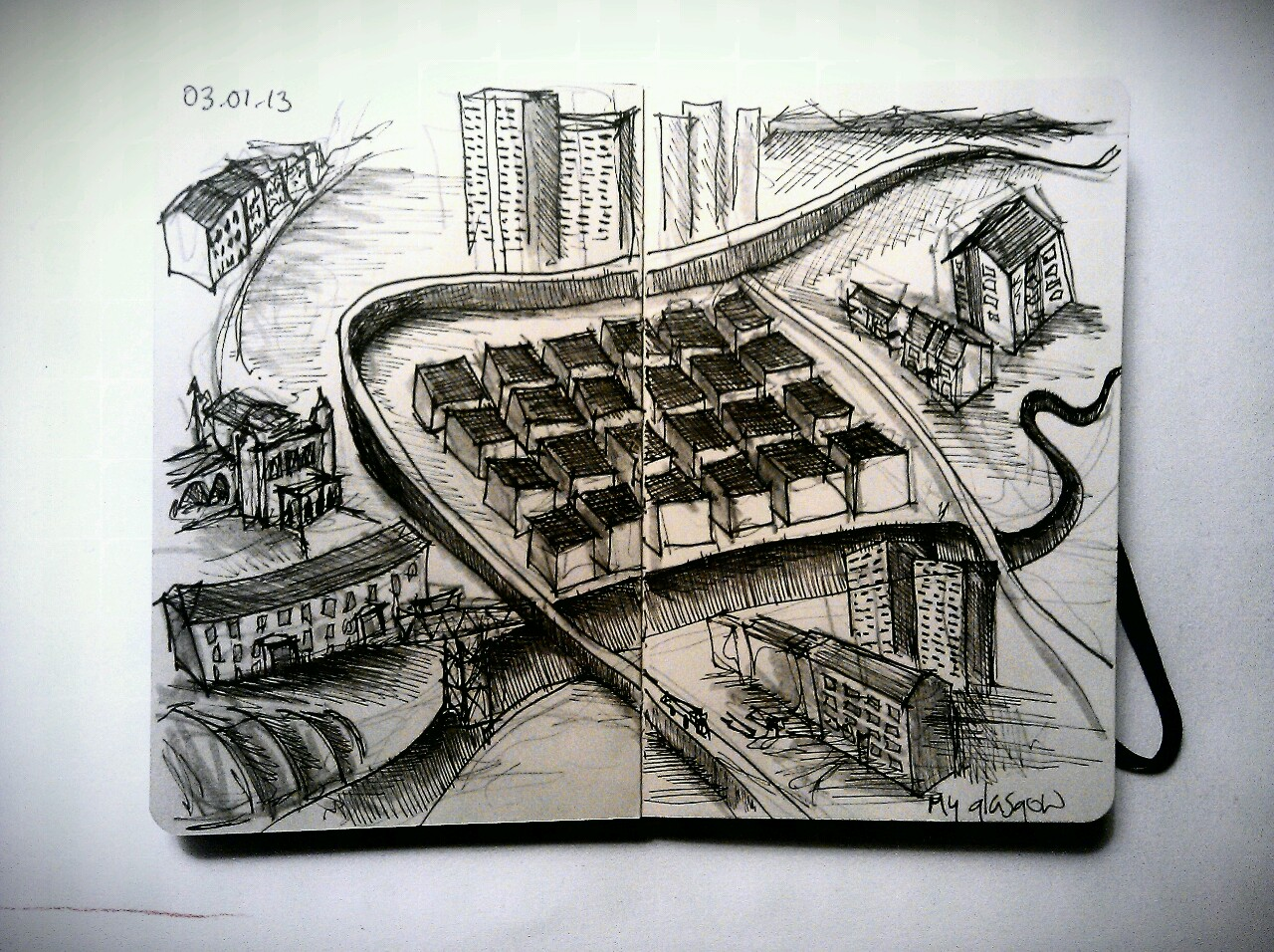 365 drawings later … day 338 … my glasgow [I've drawn a similar one to this before but the perspective has changed slightly]