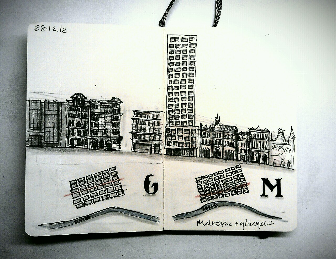365 drawings later … day 332 … glasgow + melbourne [st vincent street + collins street are just so similar]