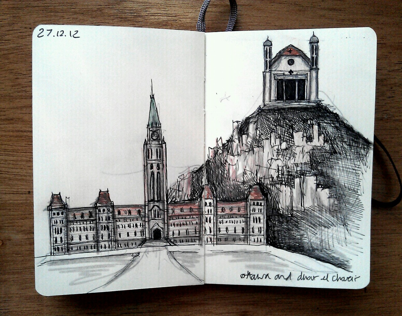 365 drawings later … day 331 … ottawa and dhour el choueir [I asked my mum what her favourite building is and her answer was the parliament in ottawa and the catholic church in dhour el choueir, lebanon]