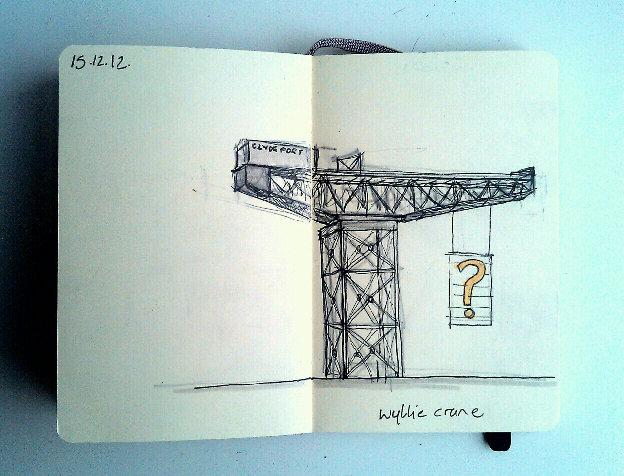365 drawings later … day 319 … wyllie crane [george wyllie + the finnieston crane]