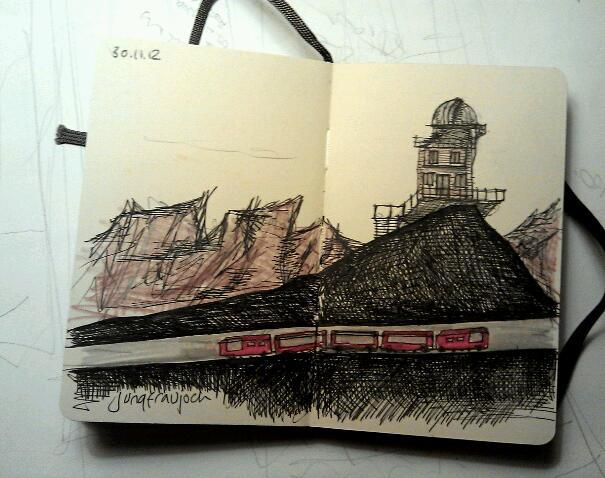365 drawings later … day 304 … jungfraujoch