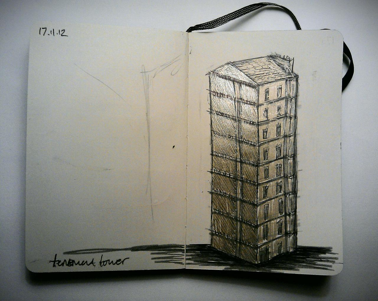 365 drawings later … day 291 … golden tenement tower