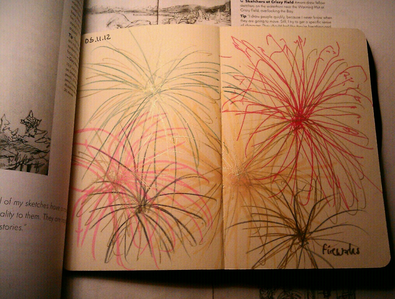 365 drawings later .. day 279 … fireworks