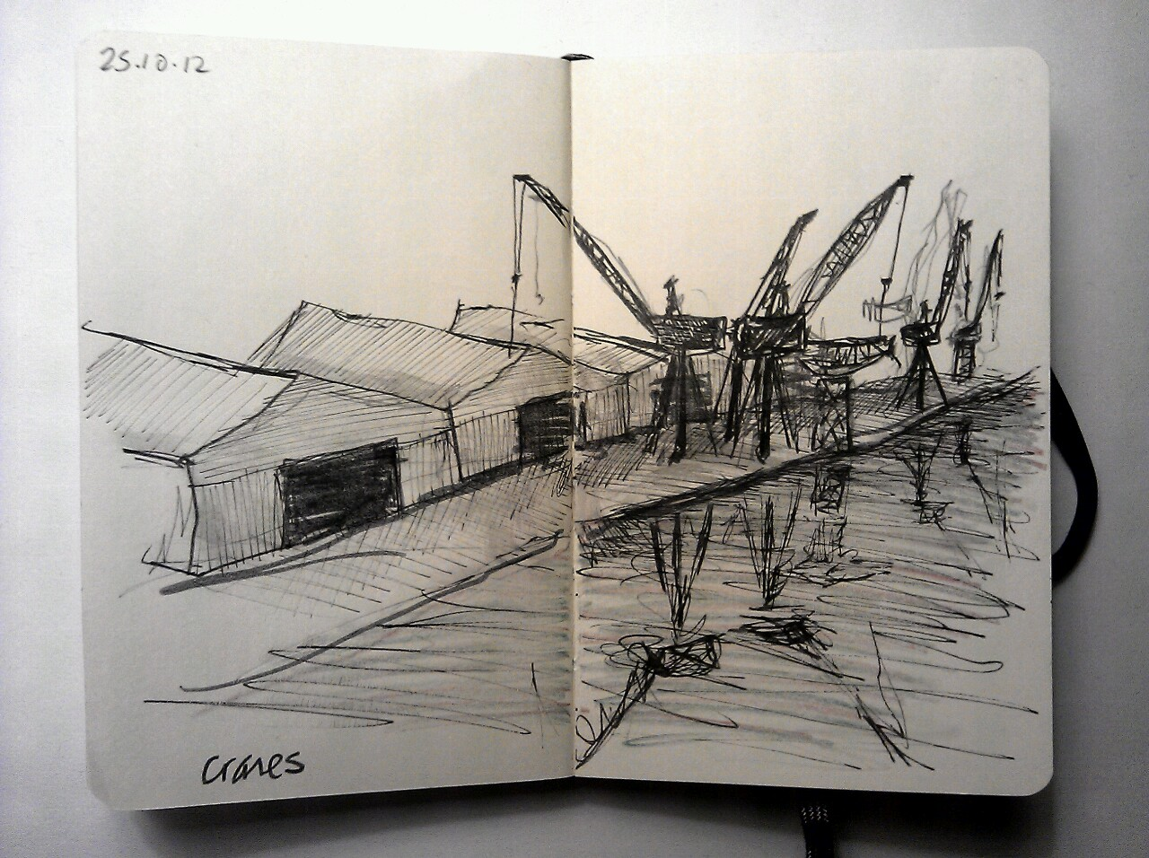 365 drawings later … day 268 … cranes