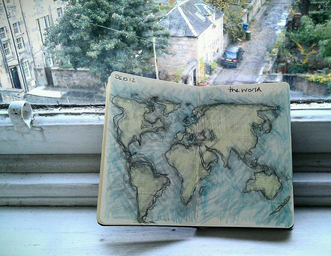 365 drawings later … day 249 … the world [a little frayed]