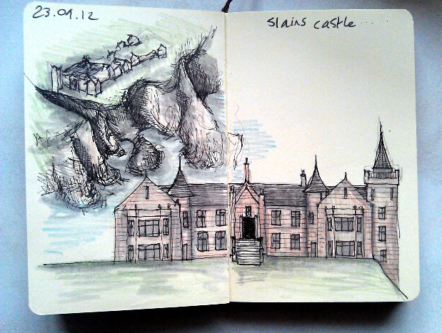 365 drawings later … day 236 … slains castle