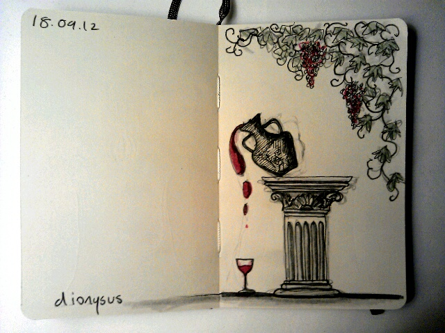 365 drawings later … day 231 … dionysus [wherefore art thou?]
