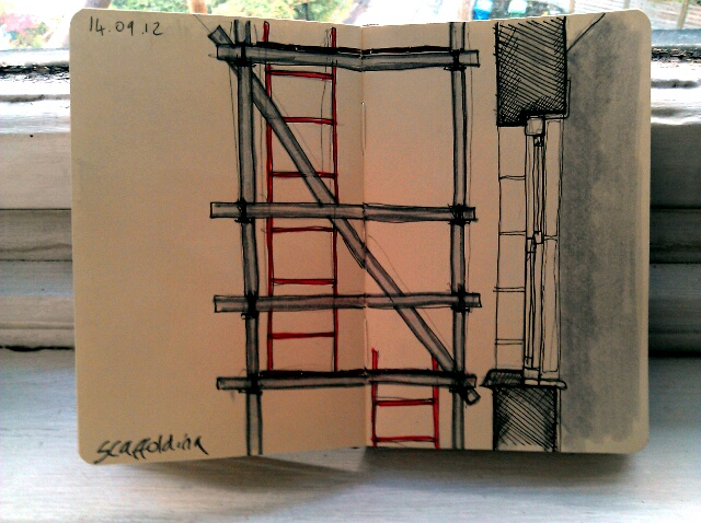 365 drawings later … day 227 … scaffolding