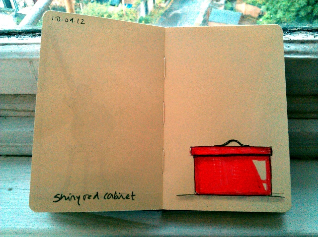 365 drawings later … day 223 … shiny red cabinet