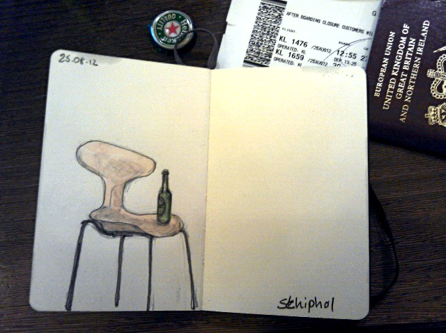 365 drawings later … day 207 … schiphol [a seat + beer]