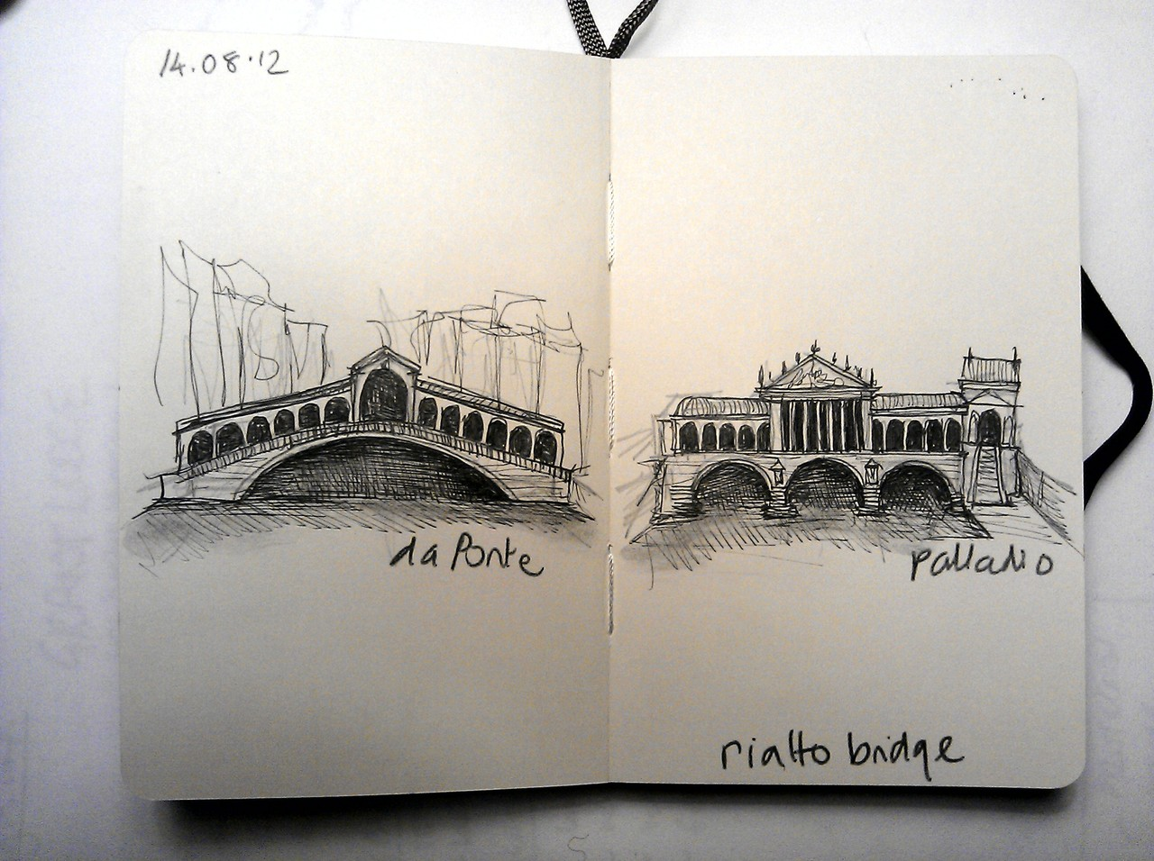 365 drawings later … day 196 .. rialto bridge [palladio vs da ponte]