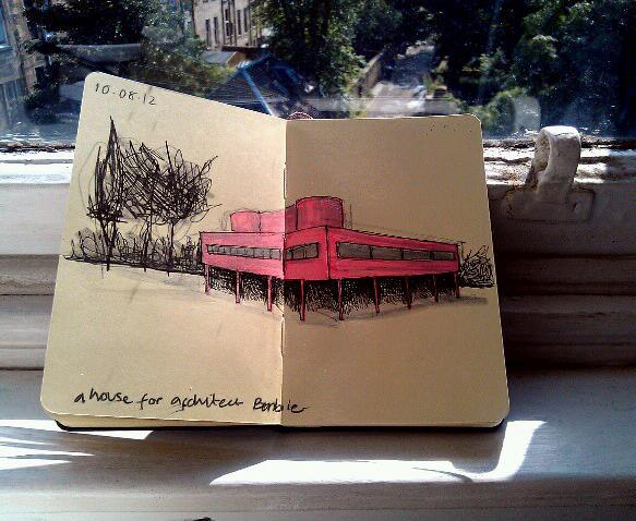 365 drawings later … day 192 … a house for architect barbie