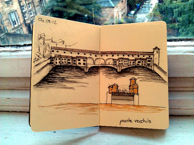 365 drawings later … day 186 … ponte vecchio