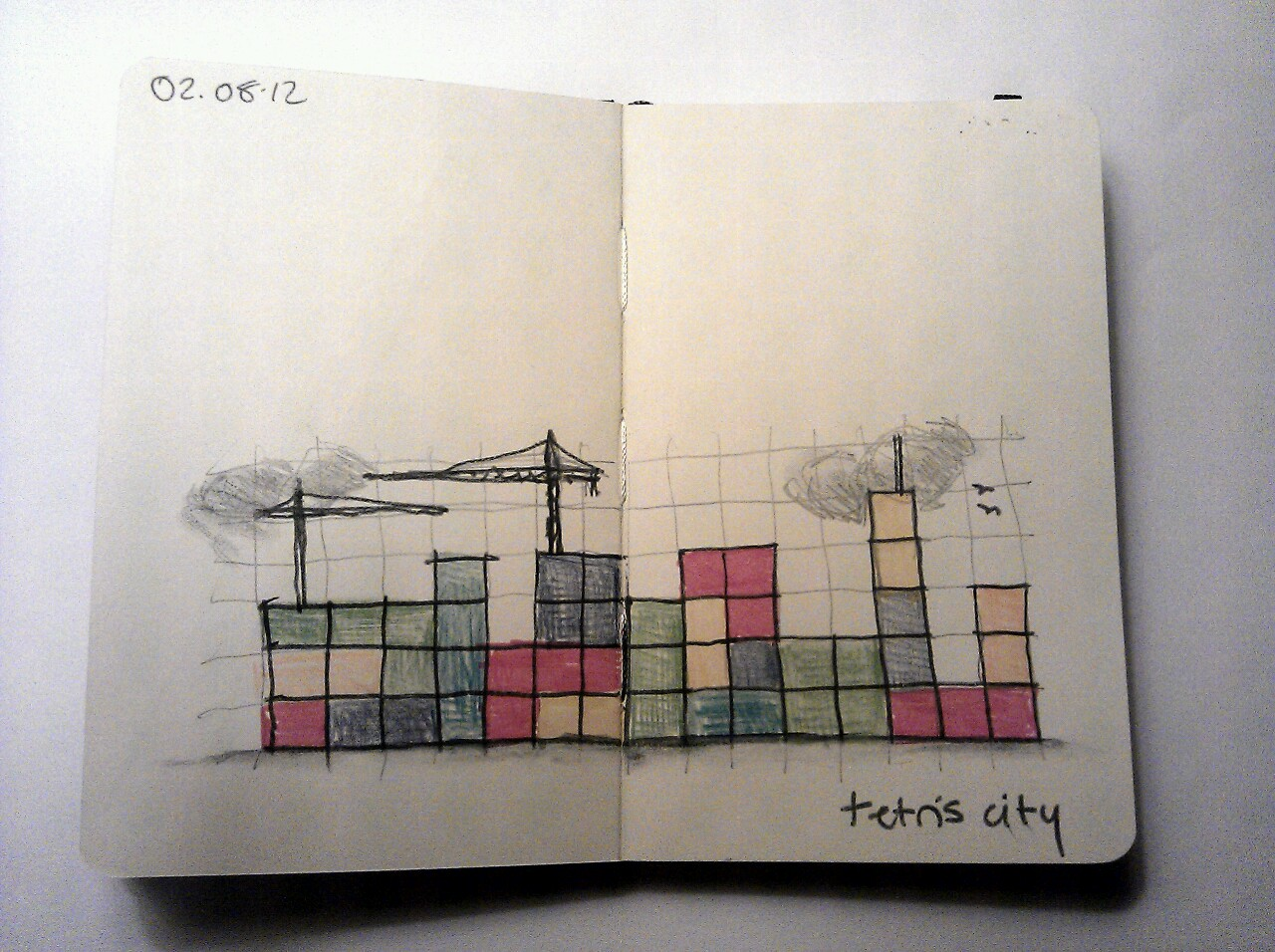 365 drawings later … day 184 … tetris city