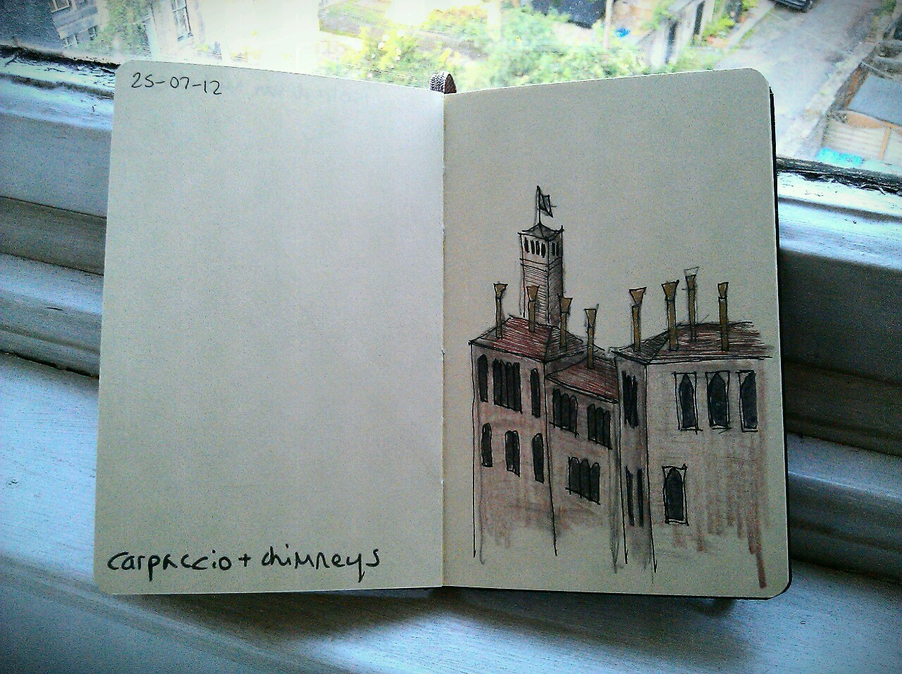 365 drawings later … day 176 … carpaccio + chimneys