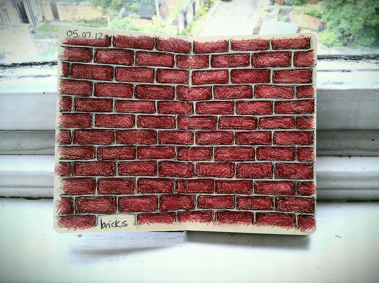 365 drawings later … day 156 … bricks [a little bit of repetition]
