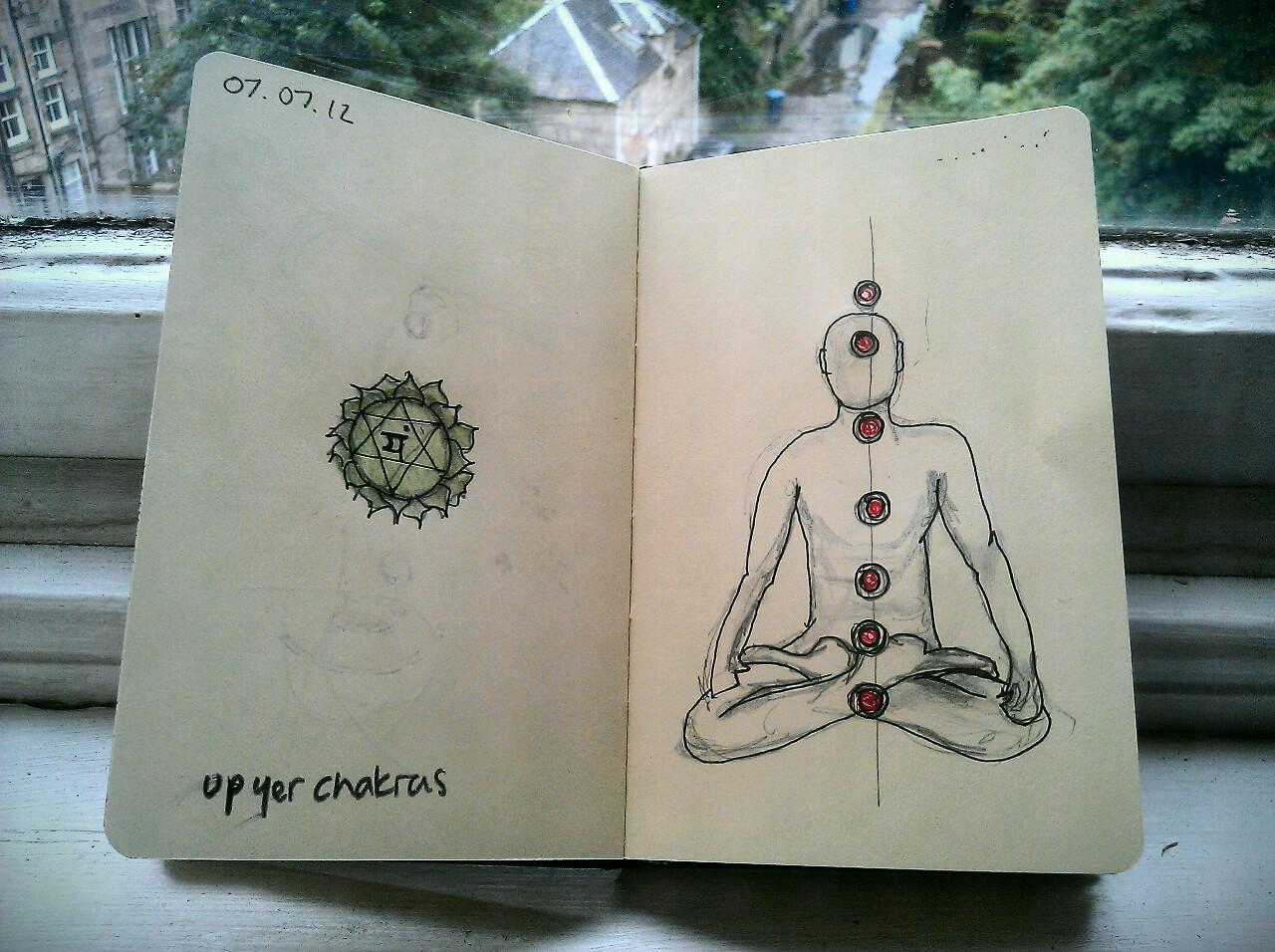 365 drawings later … day 158 … up yer chakras