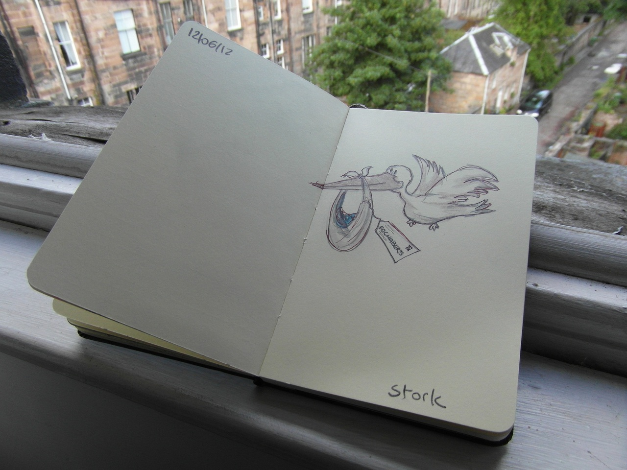 365 drawings later … day 133 … stork
